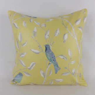 Finches Sanderson Fabric Yellow Blue Bird Cushion
