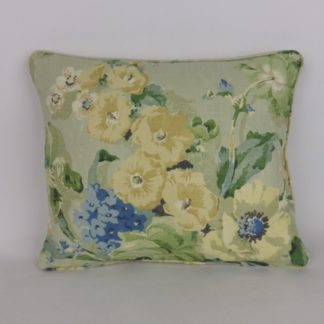 Hollyhocks Cottage Garden Floral Linen Fabric Cushions