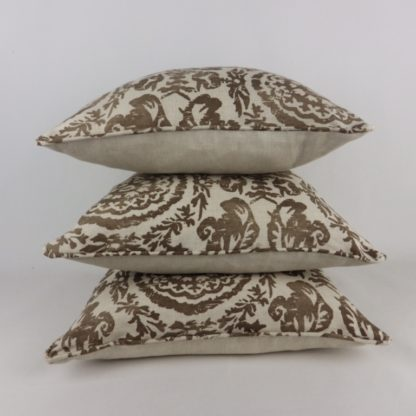 Sansome Fabric Thibaut Brown Natural Linen Cushions