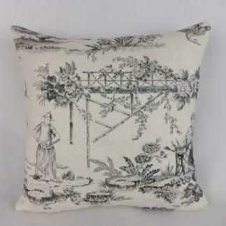 Black Toile Chivasso Whisperers Garden Cushions