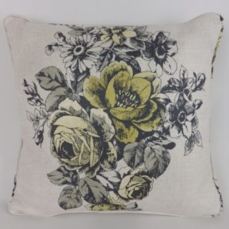 Yellow Rose Toile Floral Cushion