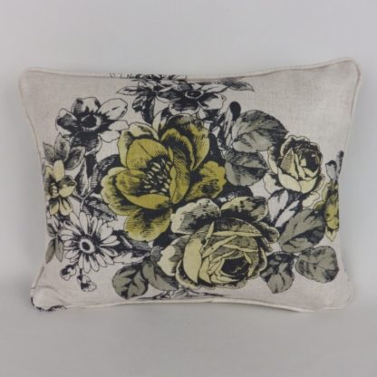 Yellow Rose Toile Floral Lumbar Cushion