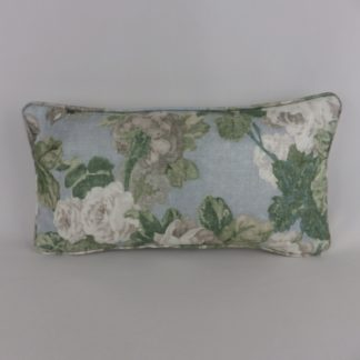 Blue Rose Floral Cushions. Rosemoor Garden by Hodsoll McKenzie is a classic English floral design printed on a textured linen/viscose ground. Grey, soft mauve roses on blue ground on the front and piping pale grey linen back. Feather cushion pad.