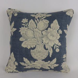 Faded Blue Floral Vase Cushion