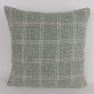 Duck Egg Check Wool Cushions