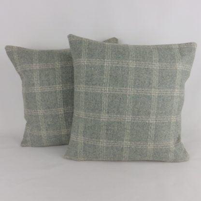 Duck Egg Check Wool Cushions