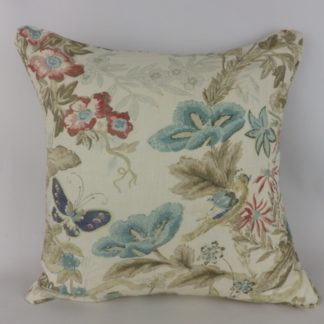 Cowtan & Tout Upper Marsh Blue Bird Floral Linen Large Cushion