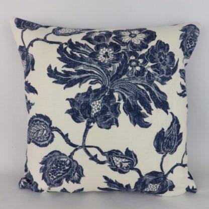 Helena Thibaut Navy Floral Linen Velvet Cushion