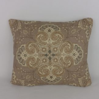 Natural Brown Floral Paisley Linen Lumbar Cushions