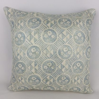 Zoffany Diamonds and Flowers Sky Blue Rustic Linen Cushions