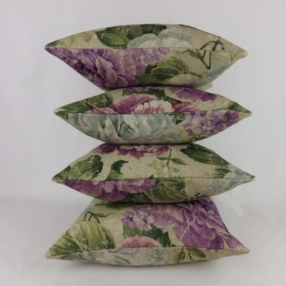 Distressed Purple Green Large Floral Cushions