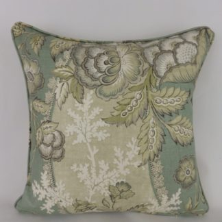 Duck Egg Linen Floral Vine Cushion