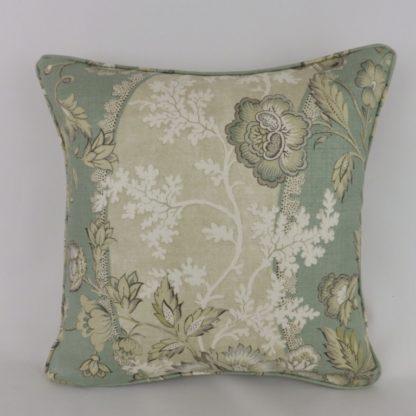Duck Egg Linen Floral Vine Cushion