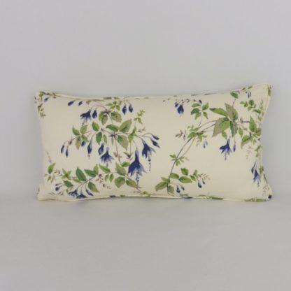 Vintage Blue Fuchsia Floral Bolster Cushion