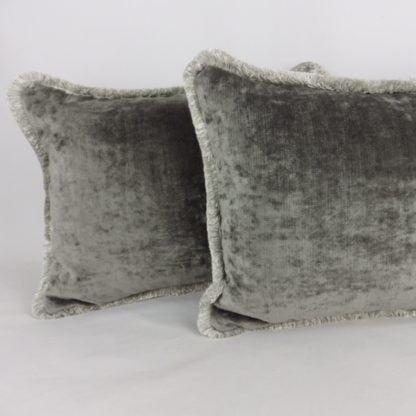 Mid Grey Velvet Fringe Cushions