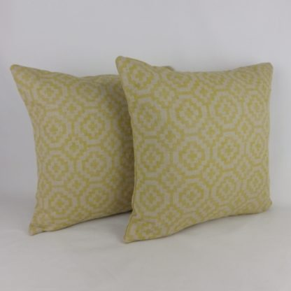 Natural Linen Yellow Geometric Cushions