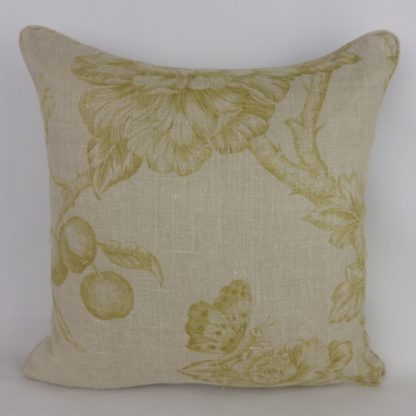 Giant Floral Toile Yellow Natural Linen Cushion