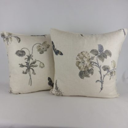 Grey Natural French Garden Floral Large Cushion