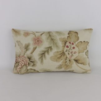 Jacobean Soft Pink Floral Linen Rectangular Bolster Cushion