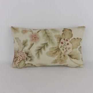 Jacobean Soft Pink Floral Linen Rectangular Bolster Cushion
