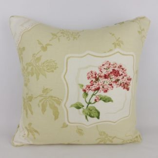 Red Floral Lilac Cushion. Linen blend fabric with floral cartouche design and trailing clematis on the front and piping. Plain natural linen back, zipped across the center with feather pad. 45 cm x 45 cm 18 inch x 18 inch