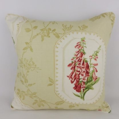 Red Floral Foxglove Lilac Cushion. Linen blend fabric with floral cartouche design and trailing clematis on the front and piping. Plain natural linen back, zipped across the center with feather pad. 45 cm x 45 cm 18 inch x 18 inch