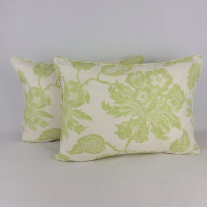 Large Green Floral Toile Linen Cushion