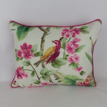 Large Hot Pink Bird Floral Cushion