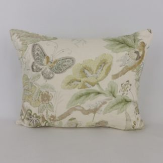 Green Bird Butterfly Floral Linen Cushion