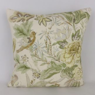 Green Bird Floral Linen Cushion