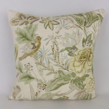 Green Bird Floral Linen Cushion