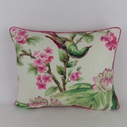 Large Bright Pink Bird Floral Cushion