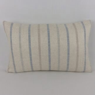 Harbour Blue Natural Linen Stripe Cushion