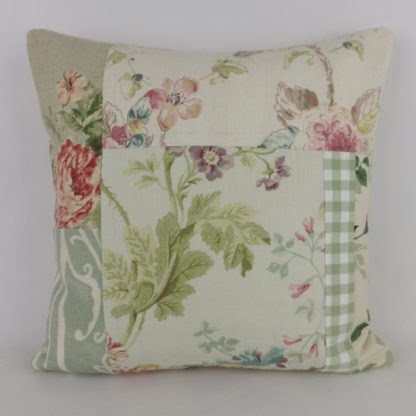 Soft Green Floral Linen Patchwork Cushion