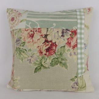 Soft Green Floral Linen Patchwork Cushion