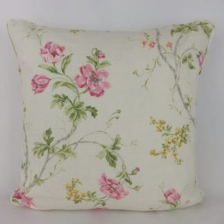 Pink Yellow Rose Floral Linen Cushion