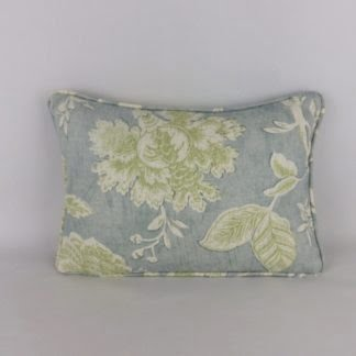 Colefax Fowler Blue Green Wyndham Lumbar Cushion