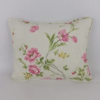 Pink Yellow Floral Linen Lumbar Cushion