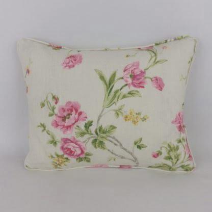 Pink Yellow Floral Linen Lumbar Cushion