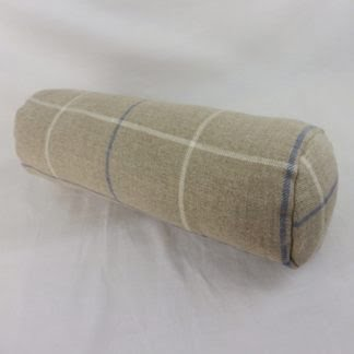 Blue Natural Linen Check Bolster Cushions