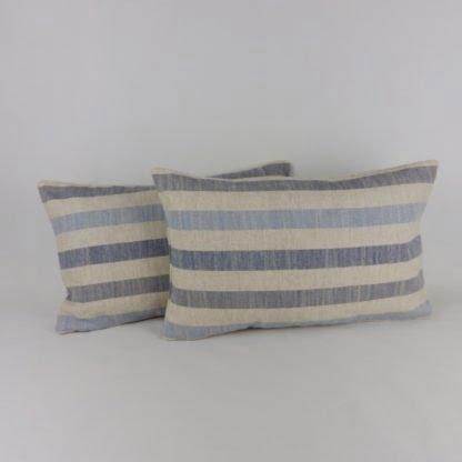 Harbour Blue Natural Linen Stripe Cushions