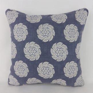 Blue Barrameda Floral Rosette Cushions