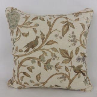 Natural Linen Trailing Rose Bird Cushion