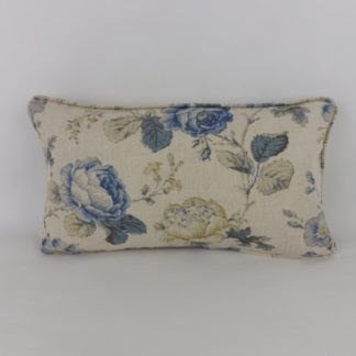 Warwick Delft Blue Chantilly Roses Cushion