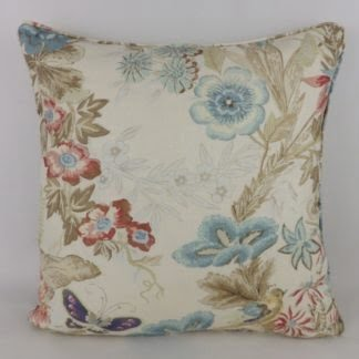 Cowtan & Tout Upper Marsh Blue Floral Linen Large Cushions