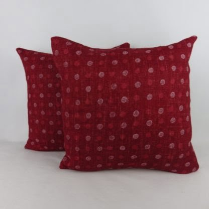 William Yeoward Red Polka Dot Linen Cushions