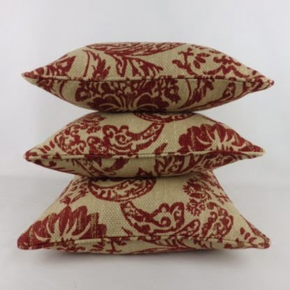 Rustic Red Damask Natural Linen Cushions