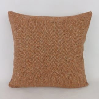 Terracotta Orange Herringbone Wool Cushions