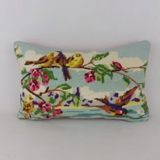Vintage Needlepoint Birds Floral Cushion