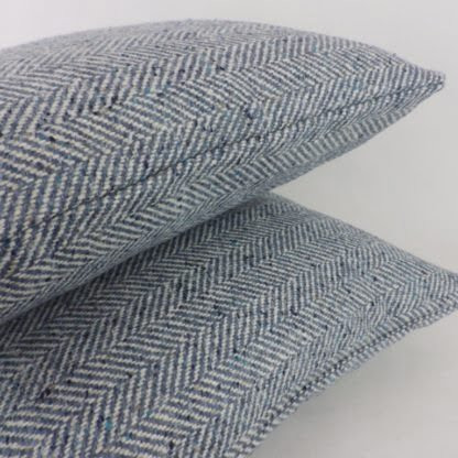 Blue Herringbone Wool Cushions